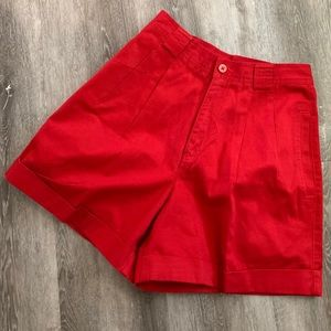 Pants - Vintage high waist cuffed pleated shorts 4 Red